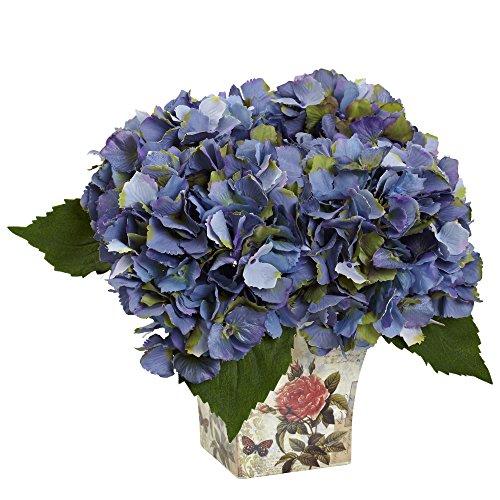 Nearly Natural 1373-BL Hydrangea Silk Arrangement with Floral Planter B
