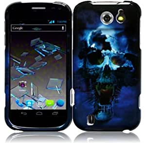 For ZTE Flash N9500 Hard Design Cover Case Blue Skull Accessory