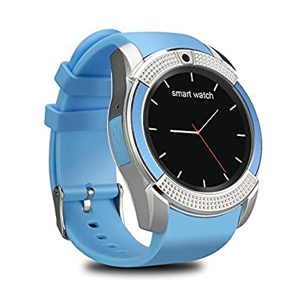 V8 Smart Watch Wireless Bluetooth Smart Watch 0.3M Camera (Blue)