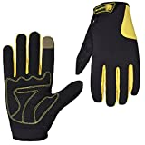 ZedYasou Full Fingered Gloves Windproof Ski Cycle Motorcycle Climbing Screen Touch Outdoor Sports Gloves Suitable to Palm Width Between 8.5 and 9.5 cm (yellow)