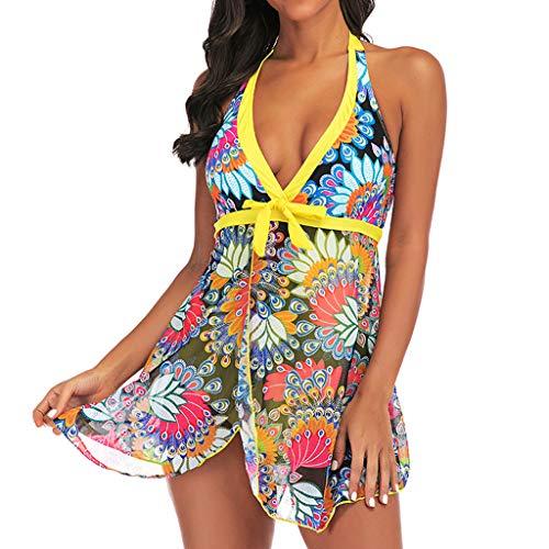 Aoesila Women Tankini Sets with Boy Shorts Ladies Bikini Set Swimwear Push-Up Padded Bra Mid Pants Skirt Bathers M Night Floral Brands Shops Costumes Styles Pool Orange Kaftan Female Dd]()