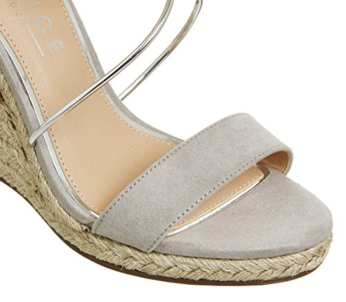 Office Hailey Strappy Espadrille Wedges Grey Silver kGJWzyB