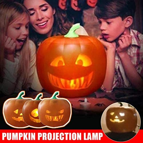 Grneric Talking Animated LED Pumpkin Projection Lamp,Three Roles Animated Built-in Bluetooth Speaker Halloween Decoration,LED Projector Lights for Home Party