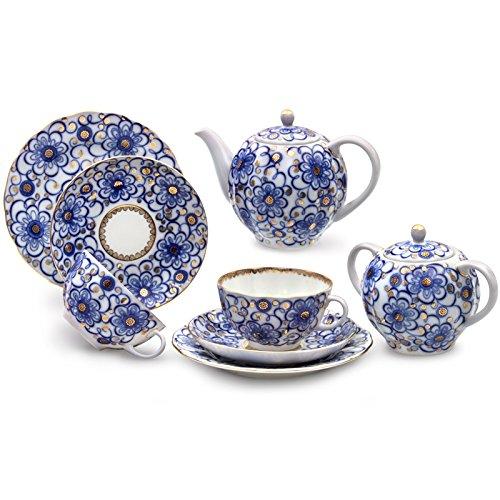 (Imperial / Lomonosov Porcelain 'Bindweed' Tea Set 20 pc. for 6 persons)