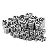 Walfront 60Pcs Stainless Steel Wire Thread Insert Assortment Metric M3 M4 M5 M6 M8 M10 M12 Helicoil Type Thread Repair Insert Kit