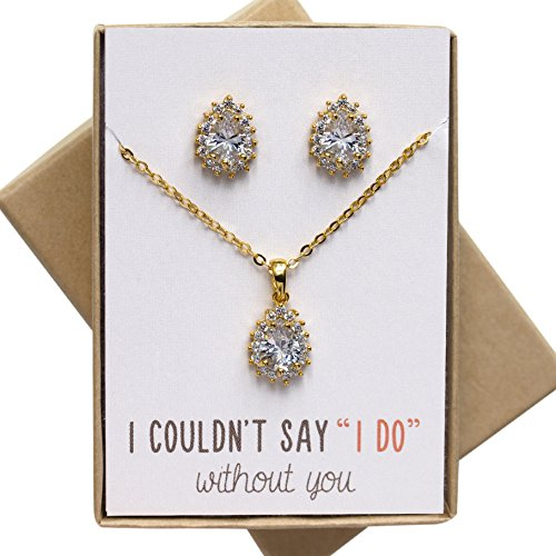 Bridesmaids Jewelry Gift Gold Tear Drop Necklace and Earring Set, Set of 1