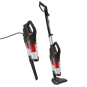 Dibea 2-in-1 Corded Upright Stick & Handheld Vacuum Cleaner 15Kpa Strong Suction Multi-Layer HEPA Filter, 1L Dust Bin, Five Height Adjustment Settings for Carpet Hard Floor SC4588