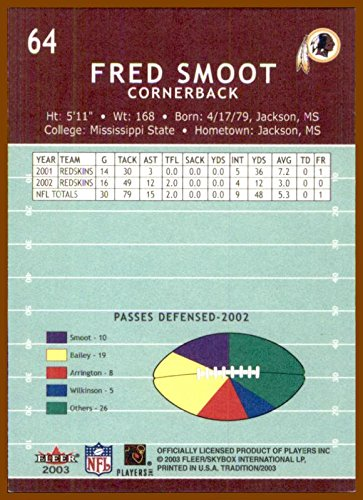 759cae51 2003 Fleer Tradition #64 Fred Smoot WASHINGTON REDSKINS MISSISSIPPI ...