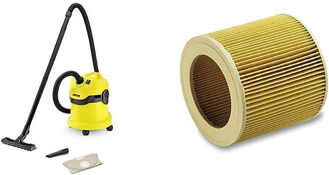 Kärcher WD2 - Aspirador en seco y húmedo, 1000 W, 12 l + Kärcher Filtro de cartucho WD2-WD3: Amazon.es: Bricolaje y herramientas