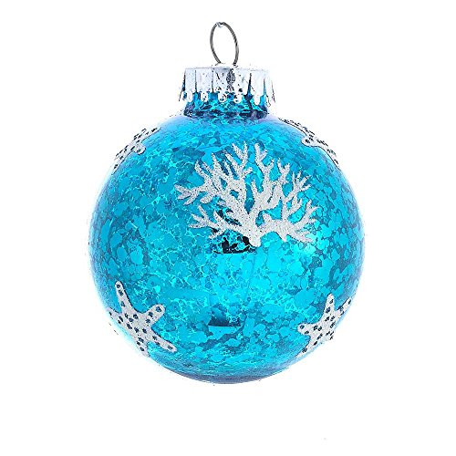 - Kurt Adler 60mm Blue and White Sea Design Ball Ornament Set of 4