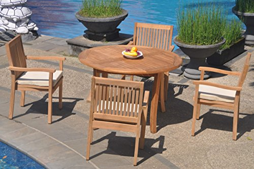 (WholesaleTeakFurniture Grade-A Teak Wood 4 Seater 5 Pc Dining Set: 48