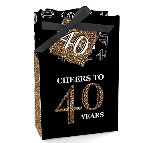 (Big Dot of Happiness Adult 40th Birthday - Gold - Birthday Party Favor Boxes - Set of 12)