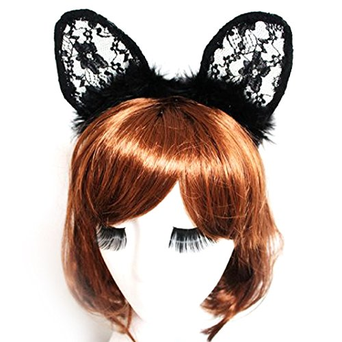 Pin Up Cat Costume (FUNNY365 Lace Feather Cat Ears Hair Hoop Headband for Women Girls (Black))