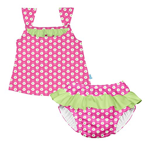i play. Girls' Two-Piece Bow Tankini with Snap Reusable Swimsuit Diaper, Hot Pink Daisy, 24mo