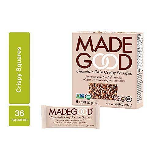 MadeGood Chocolate Chip Crispy Squares, 6 Pack (36 ct); Crispy Rice with Decadent Chocolate Chips; Nut and Gluten Free, Organic, Vegan Snack; Contain Nutrients of a Serving of Vegetables ()