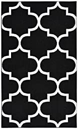 Garland Rug Quatrefoil Area Rug, 5 by 7-Feet, Black/White