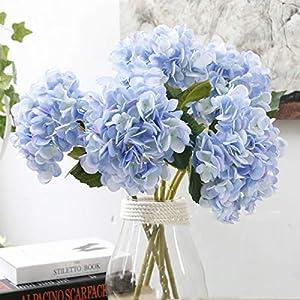 Aonewoe Artificial Flowers 5 Pcs Silk Hydrangea Flower for Wedding Party Home Decoration(Light Blue)
