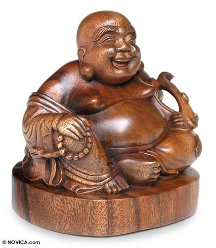 NOVICA Brown Religious Suar Wood Sculpture, 9'' Tall 'Jovial Buddha' by NOVICA