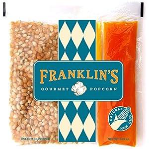 Franklin's Gourmet Movie Theater Popcorn. Organic Popping Corn, 100% Coconut Oil, & Seasoning Salt. Pre-Measured Portion Packs (Pack of 10).