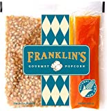 Franklin's Gourmet Movie Theater Popcorn. Organic Popping Corn, 100% Coconut Oil, Seasoning Salt. Pre-Measured Portion Packs (Pack of 24)