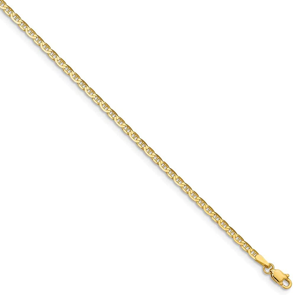 Beautiful Yellow gold 14K 14k 9in Polished Anchor Link Anklet