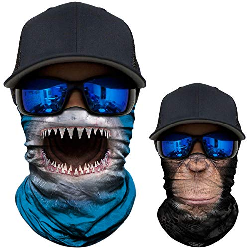 (2 Pack - 3D Animal Neck Gaiter Scarf Bandana Face Mask Seamless UV Protection for Motorcycle Cycling Riding Running Fishing Hiking Camping Shark + Chimpanzee)