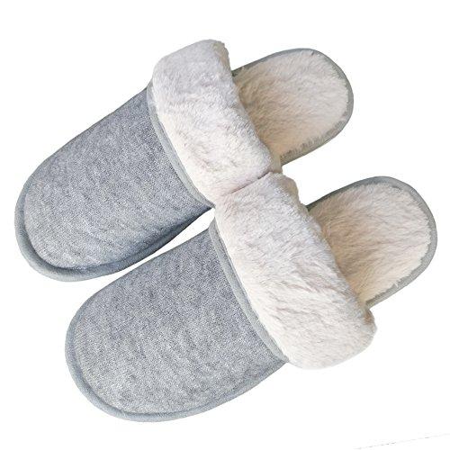 Bestfur Heren Winter Warm Comfortabel Breiwerk Pluche Huis Slippers Grijs