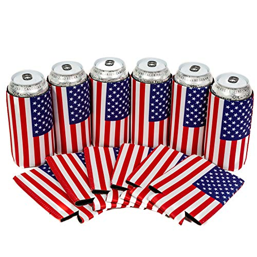QualityPerfection 6 USA Flag Neoprene Collapsible 16oz Tall Can Coolers Party Drink Beer coolie Coolies Sleeves   Insulated Cooler   Stitched Fabric Edges