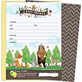 KokoPaperCo 2 in 1 Woodland Baby Shower Invitations and Tear-off Diaper Raffle Tickets. Gender Neutral Design with Woodland Animals. 25 5x7 Fill in the Blank Invites with Yellow A7 Envelopes.
