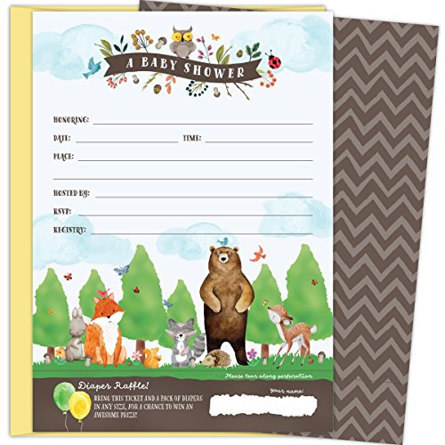KokoPaperCo 2 in 1 Woodland Baby Shower Invitations and Tear-off Diaper Raffle Tickets. Gender Neutral Design with Woodland Animals. 25 5x7 Fill in the Blank Invites with Yellow A7 Envelopes. by Koko Paper Co