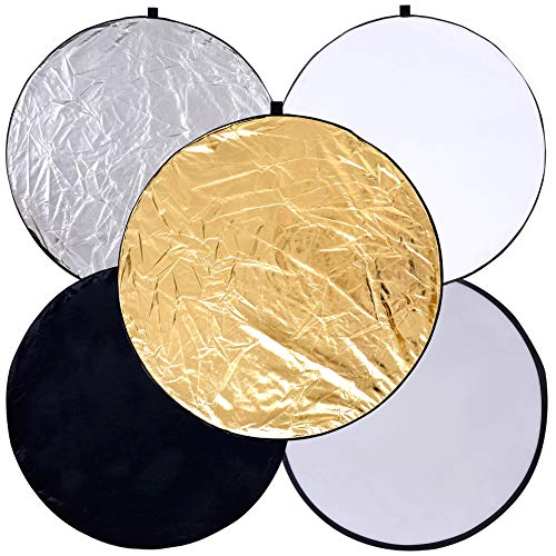 (Round 24-inch / 60cm 5-in-1 Portable Collapsible Multi Disc Light Reflector Photography with Bag for Studio or Any Photography Situation-Silver, Gold, White, Translucent and Black)