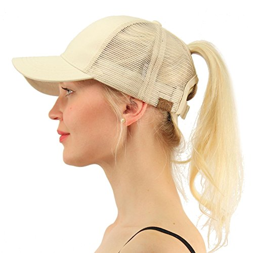(C.C Ponytail Messy Buns Trucker Ponycaps Plain Baseball Visor Cap Dad Hat Beige )