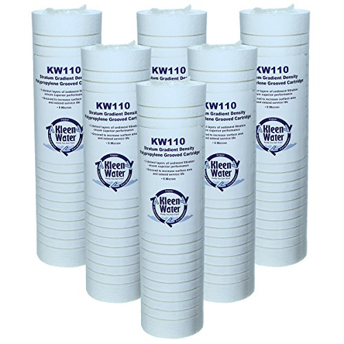 Aqua Sincere AP110 Whirlpool WHKF-GD05 Compatible Filter, KleenWater Brand KW110 Replacement Cartridges, Set of 6, Dirt Rust and Sediment Filtration