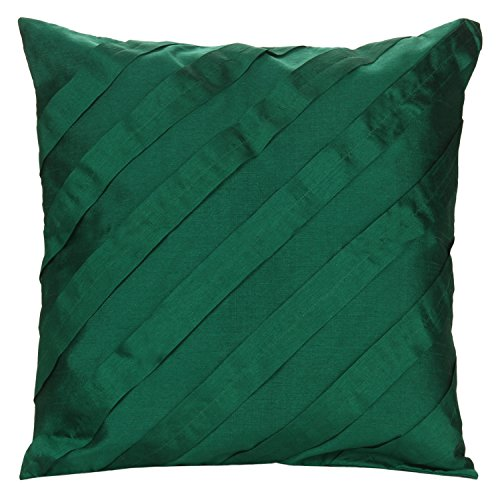 (The White Petals Green Throw Pillows For Couch, Diagonal Pleated (14x14 inches, Emerald Green, Set of 2 Pillow Covers))
