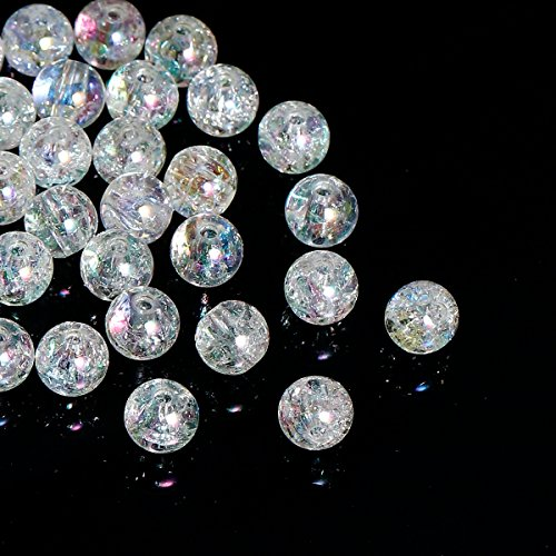 - 600 Acrylic Round Clear Crackle AB Spacer Beads 8mm or 3/8 Inches with 2mm Hole