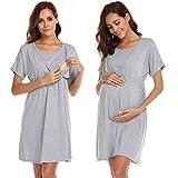 Ekouaer Womens Nursing Dress for Breastfeeding Maternity Nightgown for Hospital,Grey,X-Large