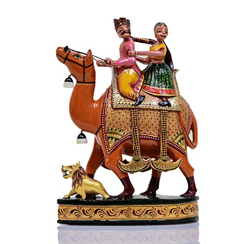 (Indus Creation Wooden Dhola Maru Carved 12 inch Hand-Painted)