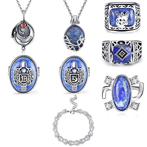 PRINCESS CUTENESS STORE The Vampire Diaries Deluxe 8 Piece Prop Replica Jewelry Set - Natural Lapis Stone