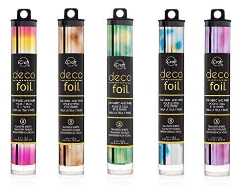 Therm O Web Deco Foil - Watercolor Transfer Sheets - Amber, Emerald, Amethyst, Lapis & Summer Rainbow - Bundle 5 iCraft Speciality Foil Packages by THERMOWEB