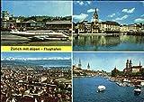 Zurich Mit Alpen Flughafen Switzerland Original Vintage Postcard