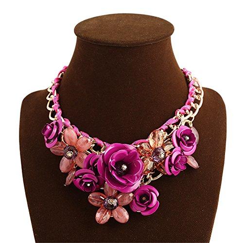 Fashion Gold Chain Crystal Flower Bib Big Statement Chunky Necklace Collar