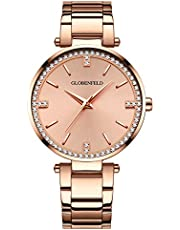 Globenfeld Starlight Rose Gold Womens Watch - 68 Crystals with Stainless Steel Bracelet Wrist Band, Quartz Movement and Analogue Dial - Simple Ladies Designer Dress Watc