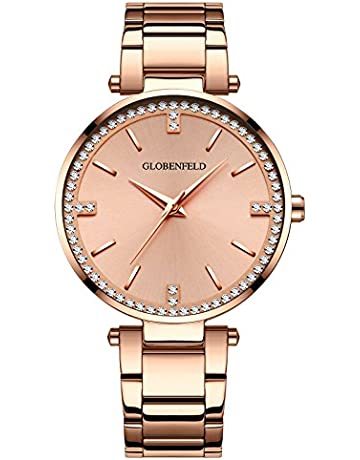 a8064d3f4a3 Globenfeld Starlight Rose Gold Womens Watch - 68 Swarovski Crystals with  Stainless Steel Bracelet Wrist Band