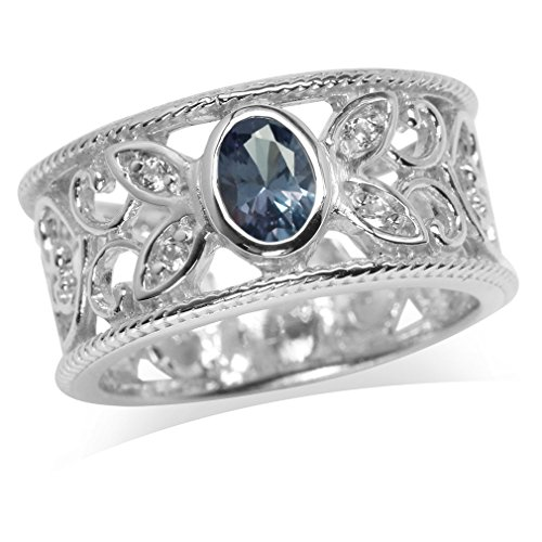 Simulated Color Change Alexandrite & White CZ Gold Plated 925 Sterling Silver Filigree Band Ring