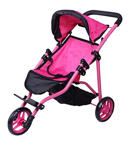 Precious Toys Jogger Hot Pink Doll Stroller, Black Foam Handles and Hot Pink Frame - -