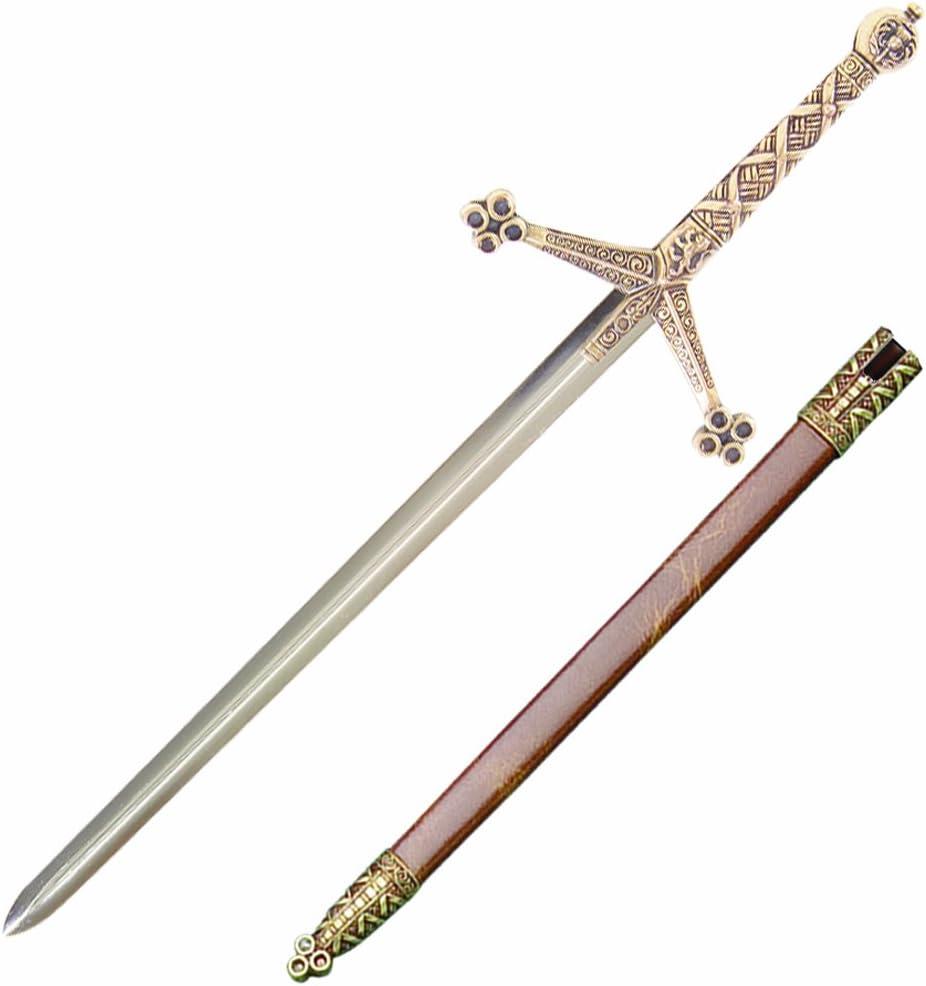 Abrecartas Espada Claymore de metal 30 cm con funda, Arma decorativa sin filo