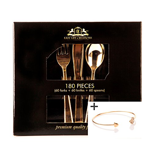 180 Pieces Disposable Plastic Flatware Utensils Set: Easy Life Creations Fork, Spoon and Knife Home Kitchen Cutlery Silverware - Modern Gold Dinner and Party Kitchenware Forks, Spoons and Knives Easy Life
