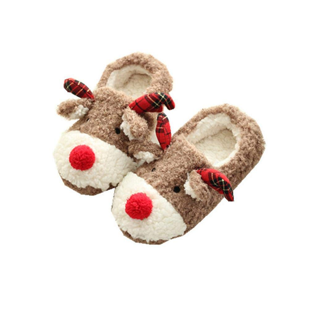 784828c27071 Amazon.com  Womdee Christmas Reindeer Slippers for Women