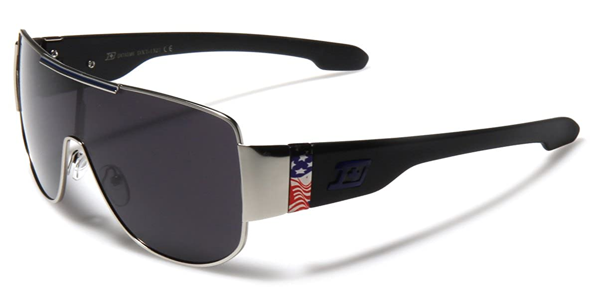 Large Oversized Flat Top Square Aviator Sunglasses US Flag