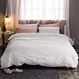 MooMee Duvet Cover Set 100% Washed Cotton Linen Like Soft Breathable Durable 3 Piece Home Bedding Set Solid Off White King